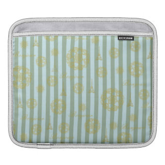 Vintage Teal Stripes Gold French Damask Pattern Sleeves For iPads