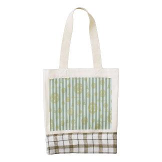 Vintage Teal Stripes Gold French Damask Pattern Zazzle HEART Tote Bag