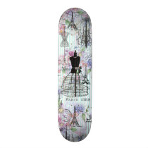 Vintage teal stripes paris collage pink floral skateboard