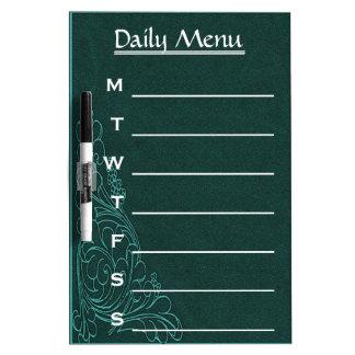 Vintage Teal Swirl Daily Menu Weekly Menu Dry-Erase Board