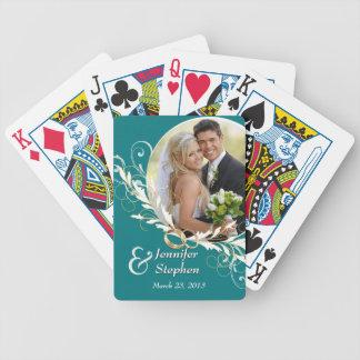 Vintage Teal Swirl Wedding Photo Playing Cards