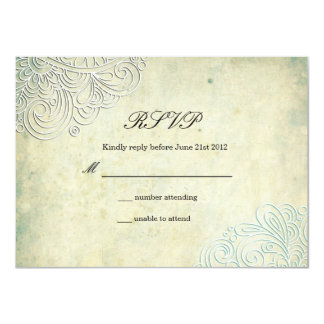 Vintage Teal Swirl Wedding RSVP Card