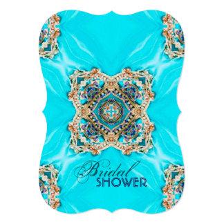 vintage teal turquoise bohemian bridal shower card