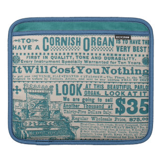 Vintage Teal Typography Cornish Organ Instrument Sleeve For iPads