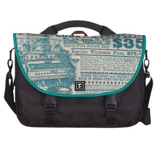 Vintage Teal Typography Cornish Organ Instrument Computer Bag