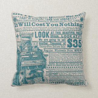 Vintage Teal Typography Cornish Organ Instrument Throw Pillow
