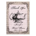 Vintage Teapot Bridal Shower Favor Tag Card Large Business Cards (Pack Of 100)
