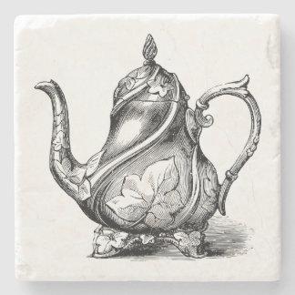Vintage Teapot Illustration Stone Coaster
