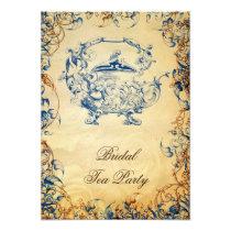 Vintage Teapot navy blue Rustic Bridal Tea Invites