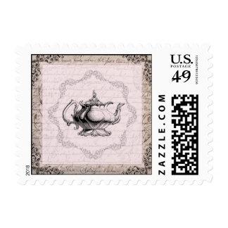 Vintage Teapot Tea Party Postage Stamp
