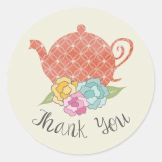 Vintage Teapot Thank You Stickers