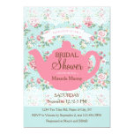 Vintage Teapot with Roses and Lace Border 5x7 Paper Invitation Card