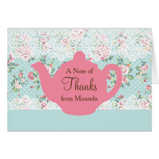 Vintage Teapot with Roses and Lace Border Stationery Note Card