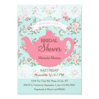 """Vintage Teapot with Roses and Lace Border 5"""" X 7"""" Invitation Card"""