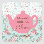 Vintage Teapot with Roses and Lace Border Square Sticker