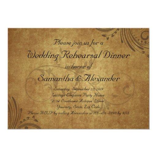 Vintage Teastain Swirl Wedding Rehearsal Dinner 5x7 Paper Invitation Card