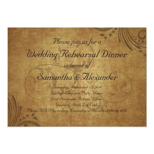 Vintage Teastain Swirl Wedding Rehearsal Dinner Card
