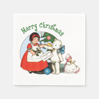 Vintage Teddy Bear Christmas Napkin