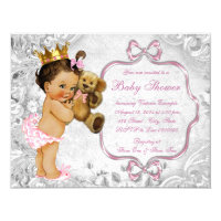 Teddy bear baby shower invitations announcements zazzle vintage teddy bear ethnic baby girl shower filmwisefo Image collections