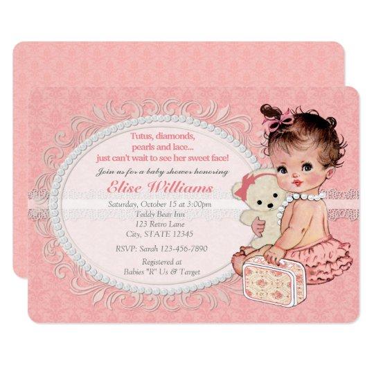 Vintage Teddy Bear Girls Baby Shower Invitations 2 Zazzle Com