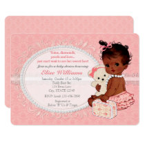 Vintage Teddy Bear Girls Baby Shower Invitations 5