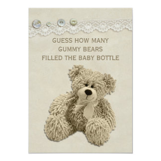 Vintage Teddy Bear Guessing Game Sign Card