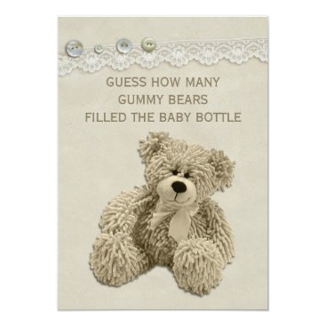 Toddler & Baby themed Vintage Teddy Bear Guessing Game Sign Card