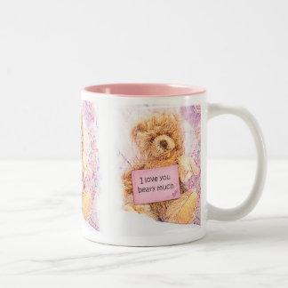 "Vintage Teddy Bear ""I love you beary much"" Two-Tone Coffee Mug"