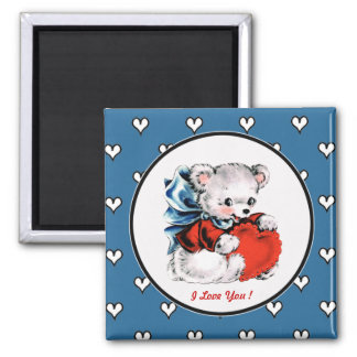 Vintage Teddy Bear Valentine's Day Magnets