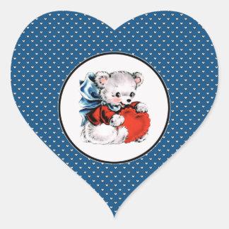 Vintage Teddy Bear Valentine's Day Stickers