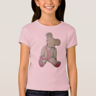 vintage teddy bear with red bow original art T-Shirt