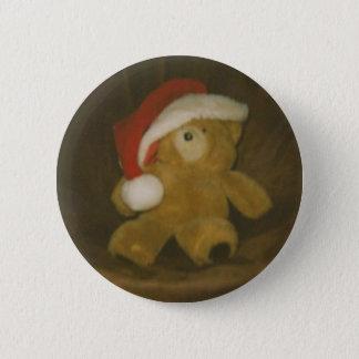 vintage teddy bear with santa hat(christmas) pinback button