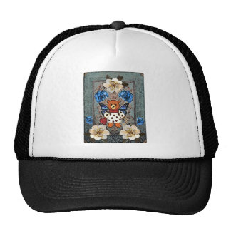 vintage teddy bear with wings and roses trucker hat