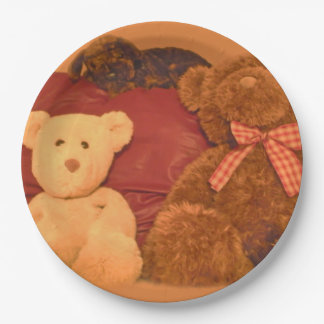 Vintage Teddy Bears Painting Paper Plates