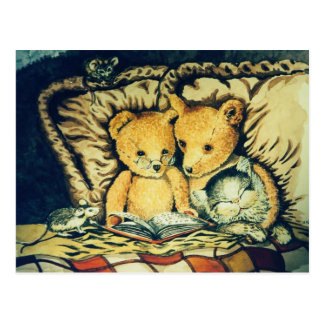 Vintage Teddy Bedtime Stories Postcard