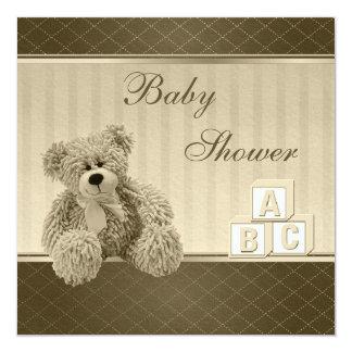 Vintage Teddy & Building Blocks Baby Shower Card