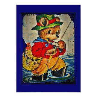 Vintage Teddybear Fisherman Card