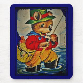 Vintage Teddybear Fisherman Mouse Pad