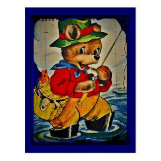 Vintage Teddybear Fisherman Postcard