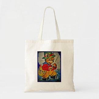 Vintage Teddybear Fisherman Tote Bag