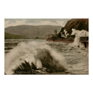 Vintage Teignmouth Devon seaside stormy weather tr Poster