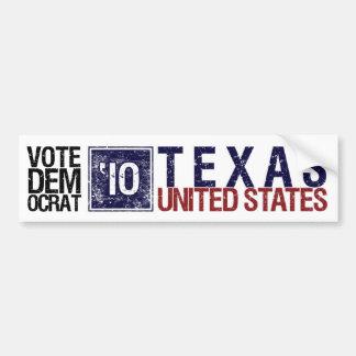 Vintage Tejas de Demócrata del voto en 2010 - Etiqueta De Parachoque
