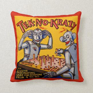 "Vintage ""Tek-No-Krazy"" Robot Game Graphic Pillow"