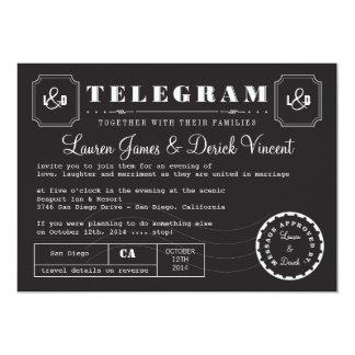 "Vintage Telegram Invitation Card in Black 5"" X 7"" Invitation Card"