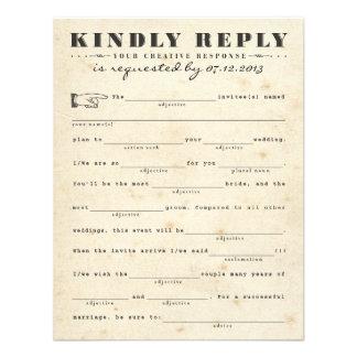 Vintage Telegram Mad Libs Response Card