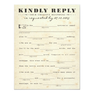 Vintage Telegram Mad Libs Response Card Custom Invite