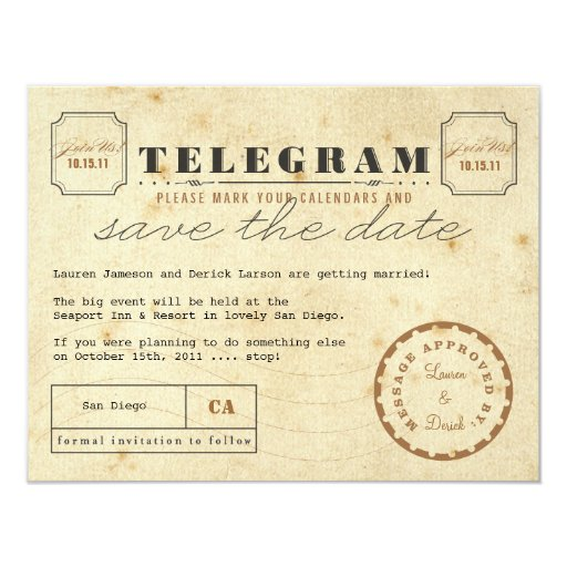 "Vintage Telegram Save The Date 4.25"" X 5.5"" Invitation"