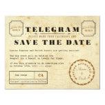 "Vintage Telegram Save the Date 4.25"" X 5.5"" Invitation Card"