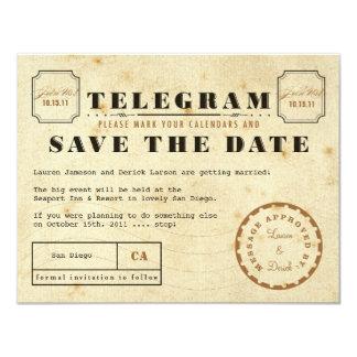 Vintage Telegram Save the Date Custom Announcement