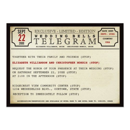 Vintage Telegram Style Wedding Invitation